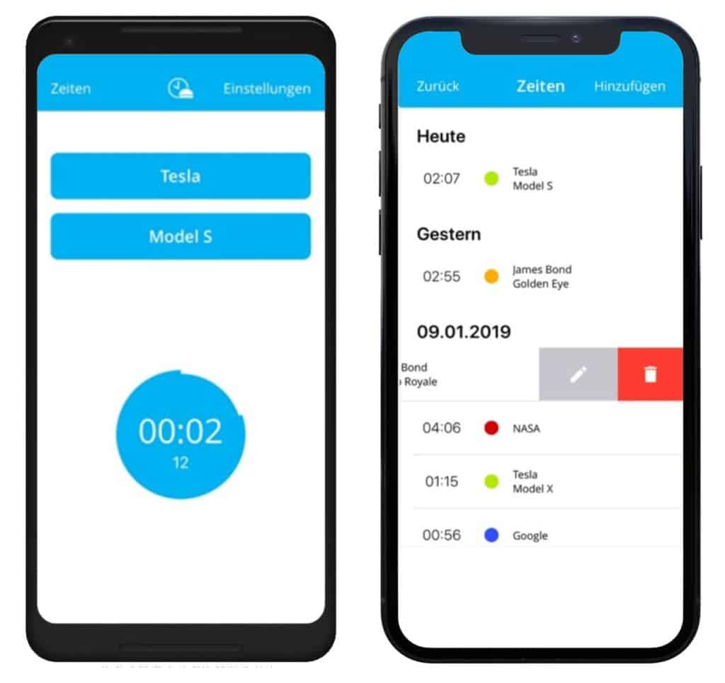 timeBuzzer - android and iOs Mockup