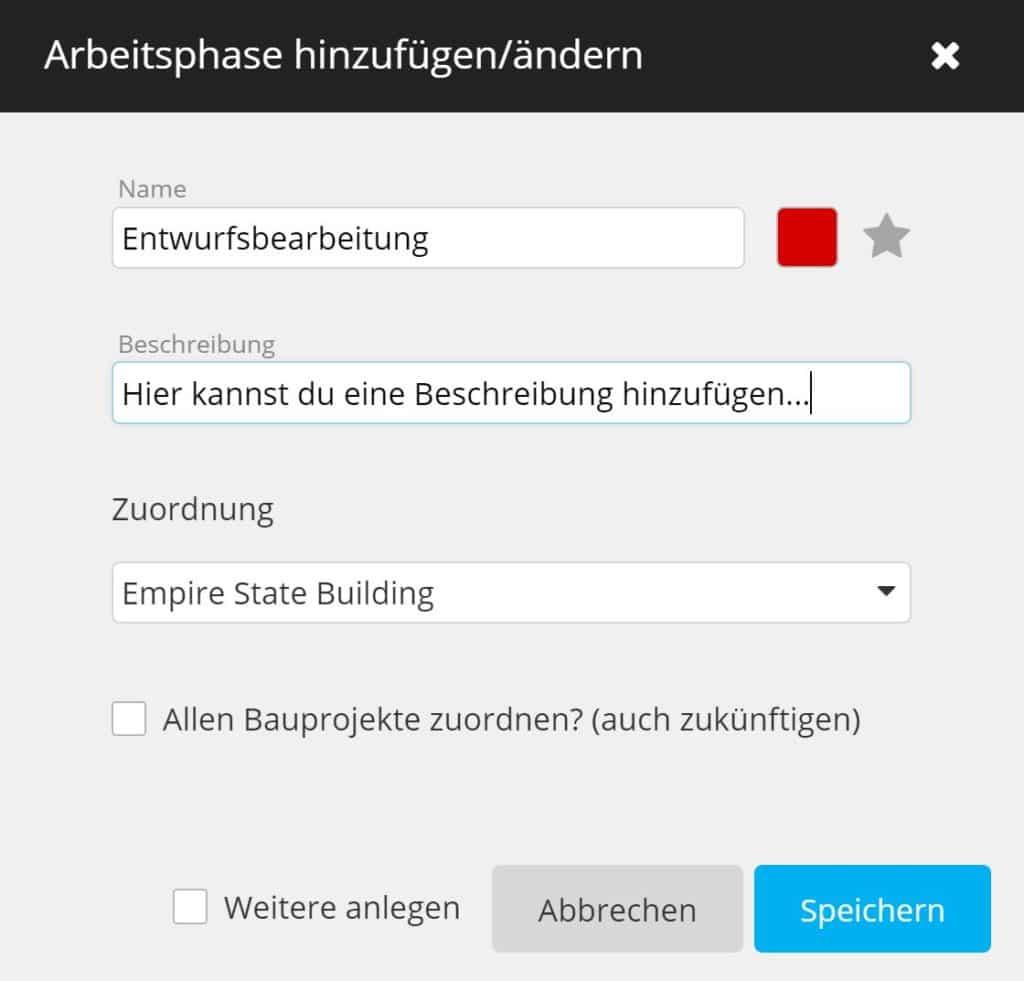 timeBuzzer Cloud - Arbeitsphase hinzufügen - Architekten