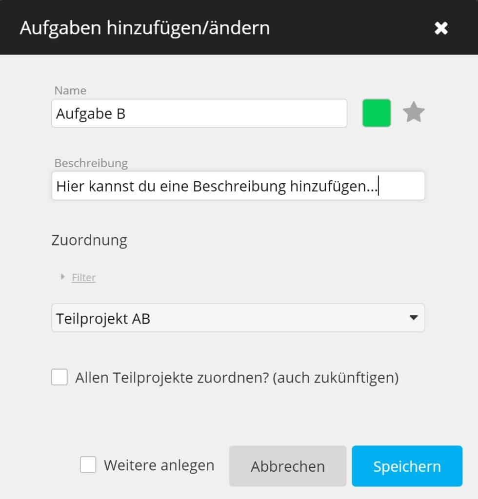 timeBuzzer Cloud - Aufgabe hinzufügen - Projektmanagement