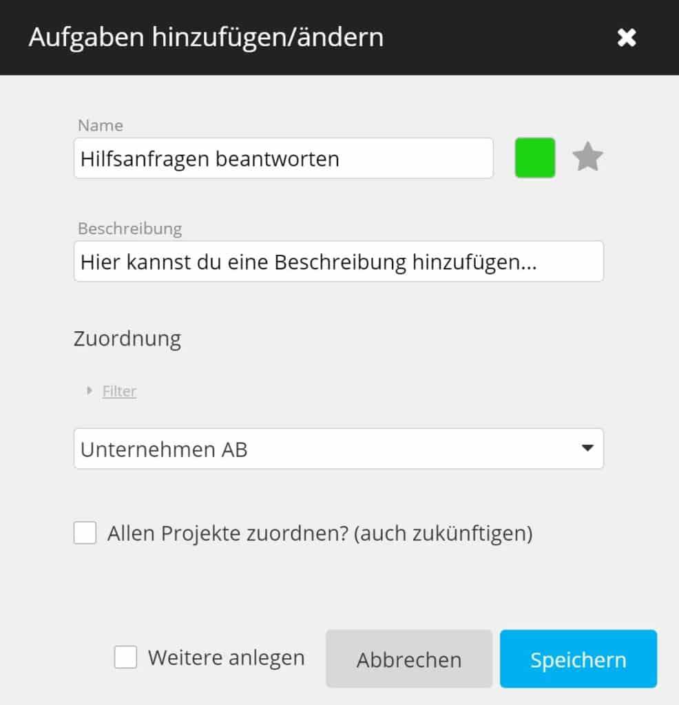 timeBuzzer Cloud - Aufgabe hinzufügen - Unternehmen