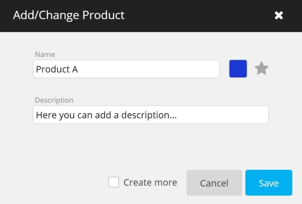 timeBuzzer - add or change products as a production