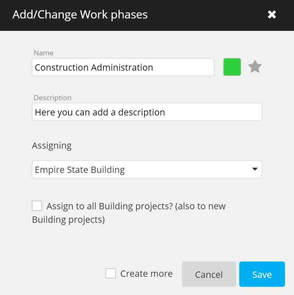 timeBuzzer - add or change work phases as an architect