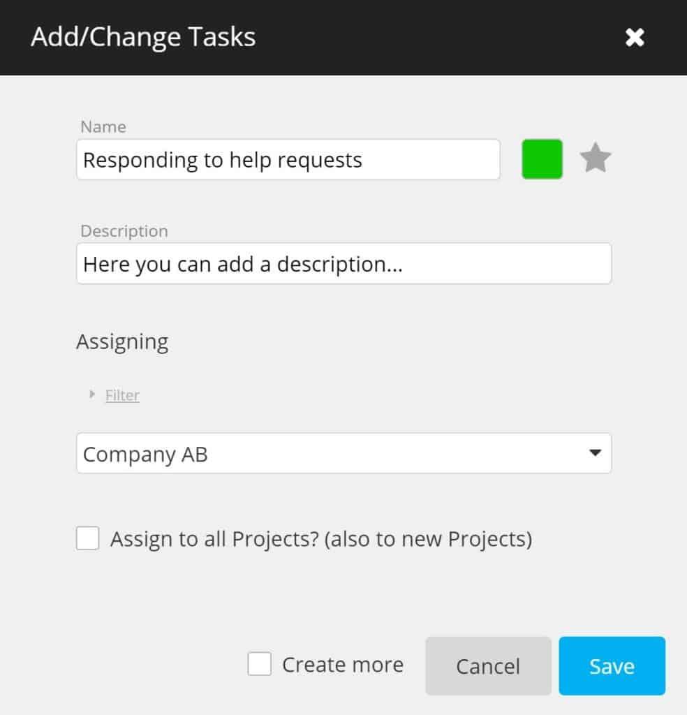 timeBuzzer - add or change tasks as an enterprise