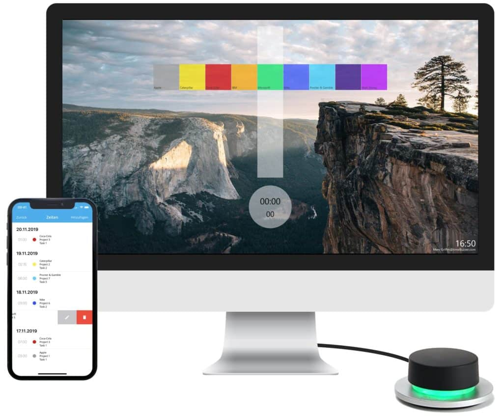 timeBuzzer Desktop App with the buzzer and the mobile app