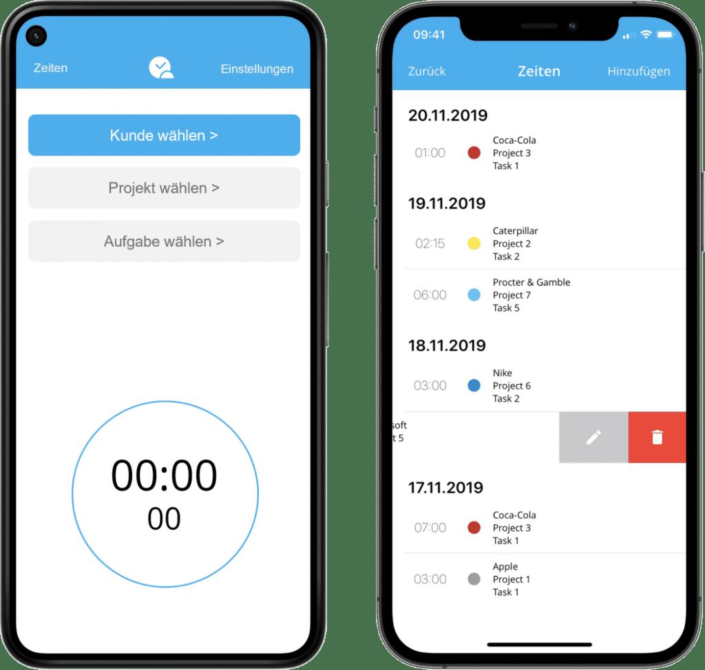 Mobile Stempeluhr App zur Zeiterfassung (iOS und Android Mockup)