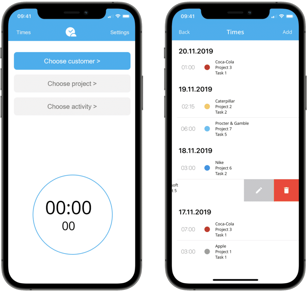 timeBuzzer - Mobile time tracking app for iOS