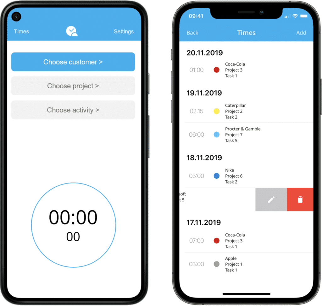 Mobile time tracking app (Android and iOS Mockup)
