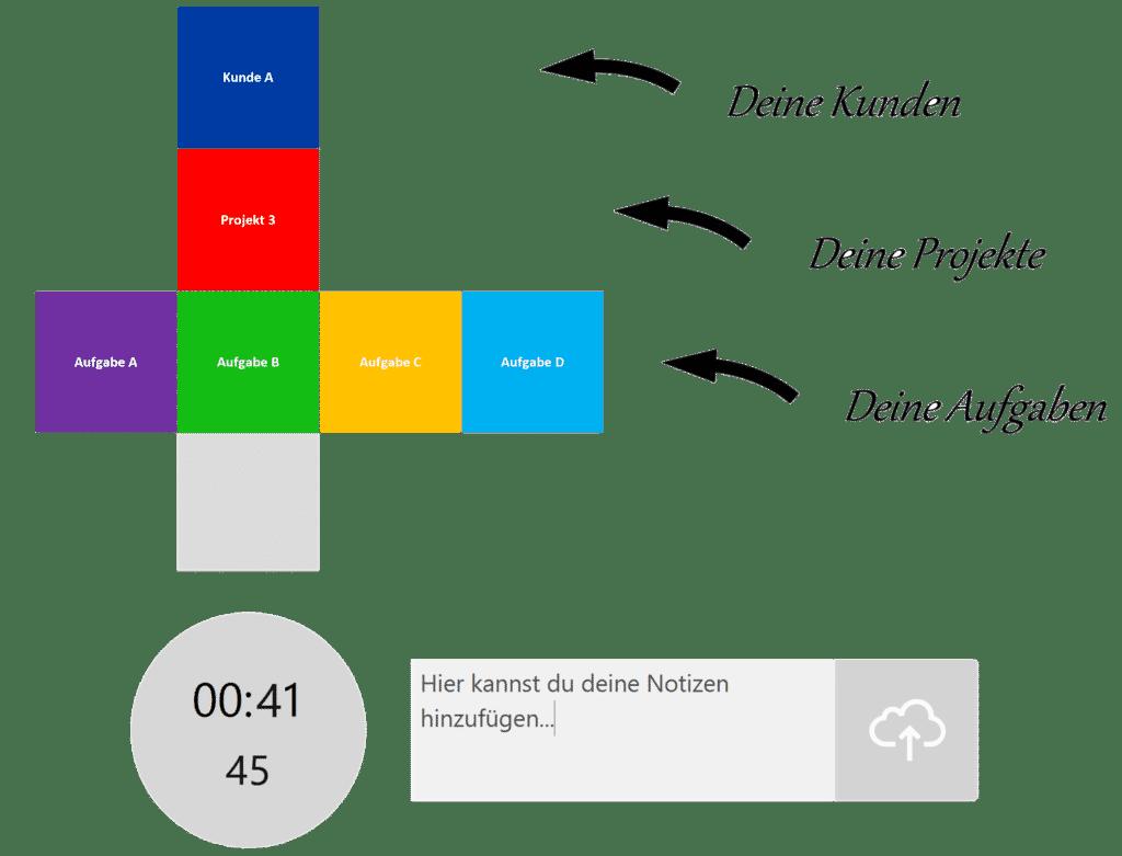 timeBuzzer Desktop App Mockup - Allgemeines Beispiel für Ebenen