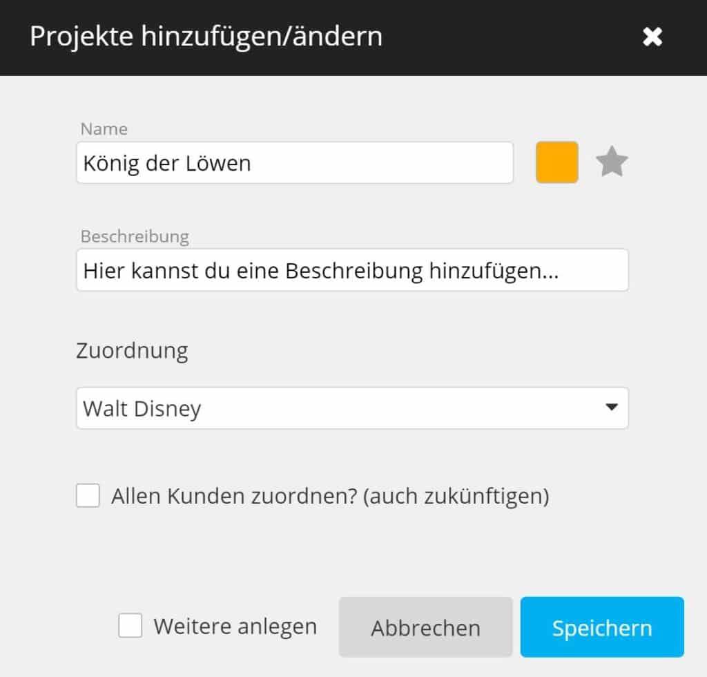 timeBuzzer Cloud - Projekte hinzufügen - Agenturen
