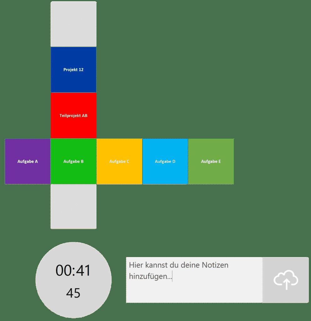 timeBuzzer Desktop App - Ebenen für Projekmanagement Beispiel