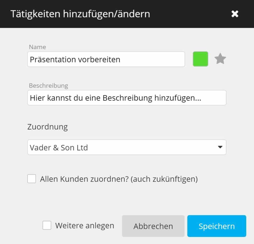 timeBuzzer Cloud - Tätigkeiten hinzufügen - Berater