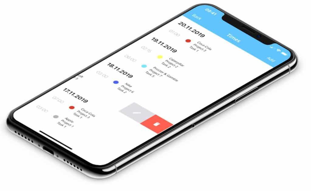 timeBuzzer mobile app mockup - english version