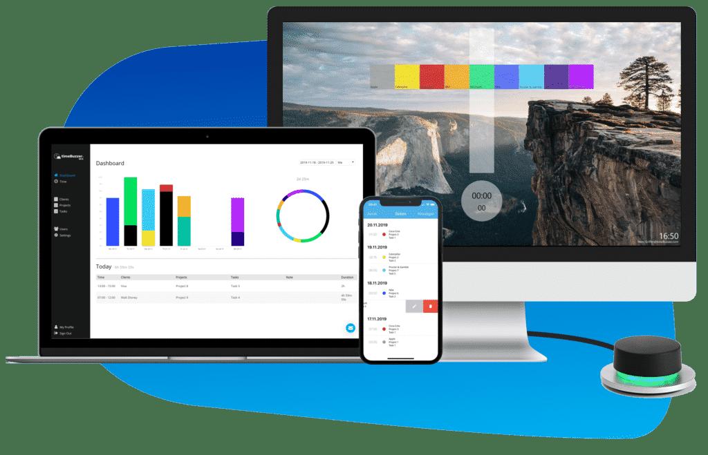 timeBuzzer Zeiterfassungssoftware Mockup